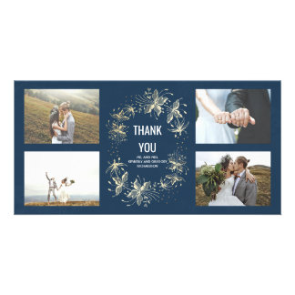 Vintage Navy and Gold Floral Wedding Thank You Picture Card