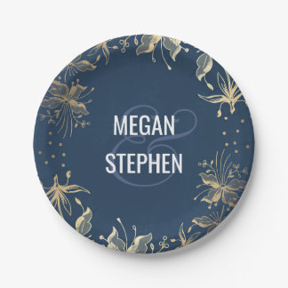 Vintage Navy and Gold Floral Wreath Wedding Paper Plate