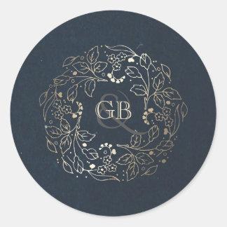 Vintage Navy and Gold Floral Wreath Wedding Round Sticker