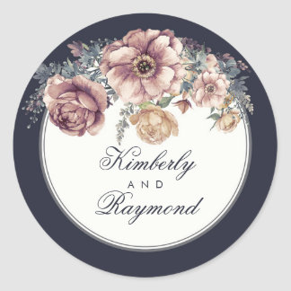 Vintage Navy Blue and Mauve Floral Watercolor Classic Round Sticker