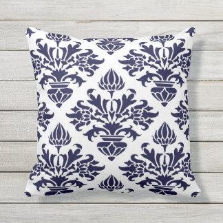 Vintage Navy Blue Large Floral Damask White BG Throw Pillow