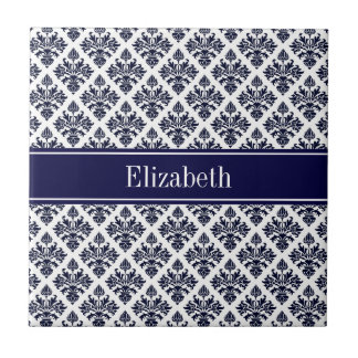 Vintage Navy Blue Wht Damask #3 Navy Name Monogram Tile