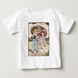 Vintage Navy Officer Girl Umbrella Heart Valentine Baby T-Shirt