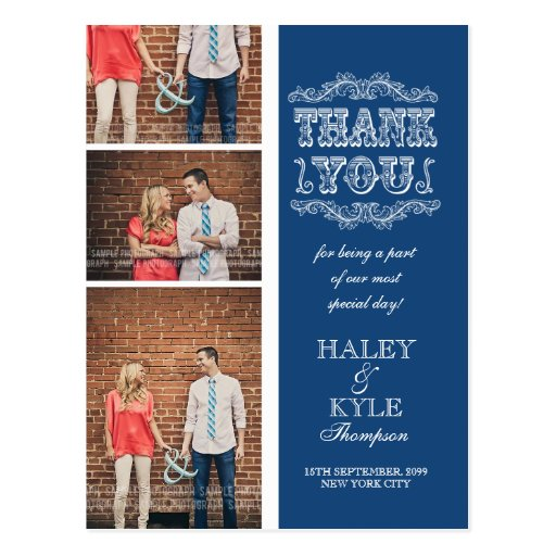 VINTAGE Navy Photo Wedding Thank You Post Card