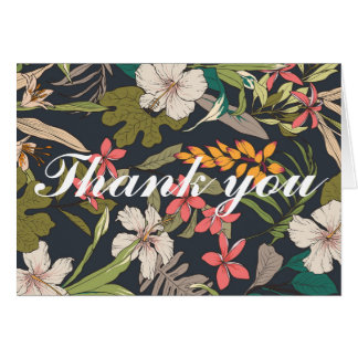Vintage Navy Tropical Bridal Shower Thank you card