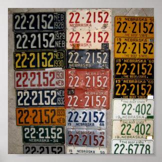 Vintage Nebraska License Plates, Saline County Poster