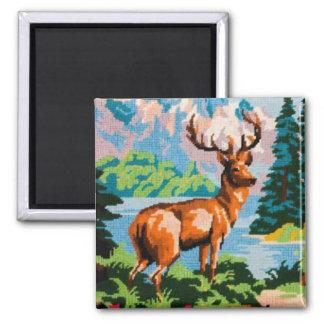Vintage Needlepoint Deer Scenic Magnet