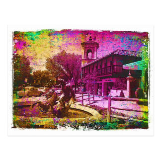 Vintage Neptune Fountain Colorful Grunge Postcard