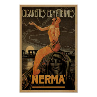 Vintage Nerma Egyptian Cigarettes Poster