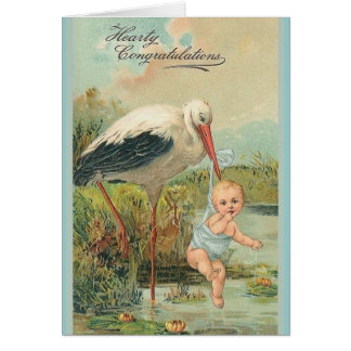 Vintage New Baby And Stork Greeting Card