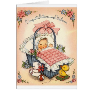 Vintage New Baby Congratulation Greeting Card