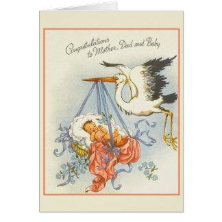 Vintage New Baby Congratulations Card