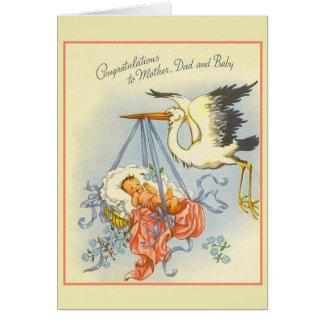 Vintage New Baby Congratulations Card Card