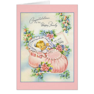 Vintage New Baby Congratulations To Family Card