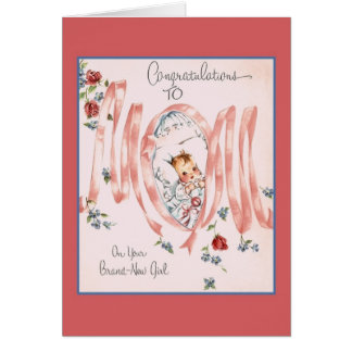 Vintage New Baby Girl Greeting Card