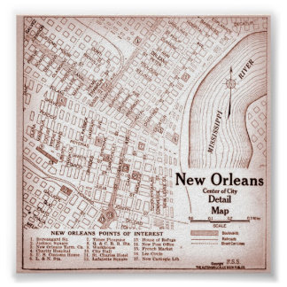 Vintage New Orleans Downtown 1920 Map Poster