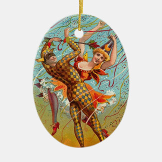 Vintage New Year Harlequin Ceramic Ornament