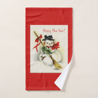 Vintage New Year Snowman Hand Towel