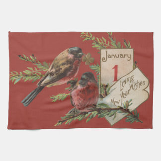Vintage New Years Birds Kitchen Towel