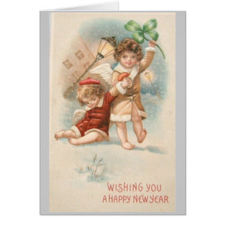 Vintage New Year's Card 2 Angels in snow shamrock