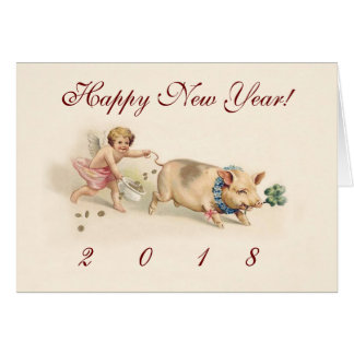 Vintage New Year's Card - Angel Running With Pig