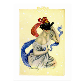 Vintage New Year's Eve Patriotic Masquerade Party Postcard