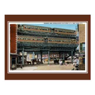 Vintage New York City Bowery elevated railroad Postcard
