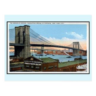 Vintage New York City Brooklyn Bridge, Manhattan Postcard