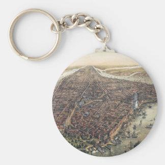 Vintage New York City, Manhattan, Brooklyn Bridge Basic Round Button Keychain