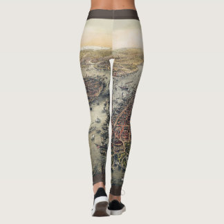 Vintage New York City, Manhattan, Brooklyn Bridge Leggings