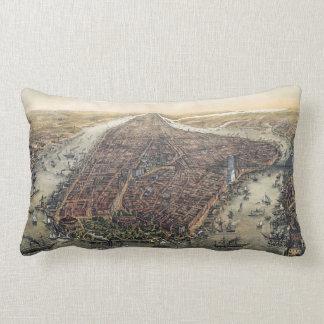 Vintage New York City, Manhattan, Brooklyn Bridge Lumbar Pillow