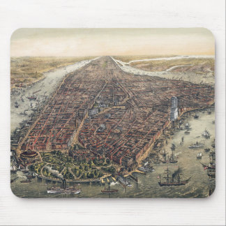Vintage New York City, Manhattan, Brooklyn Bridge Mouse Pad