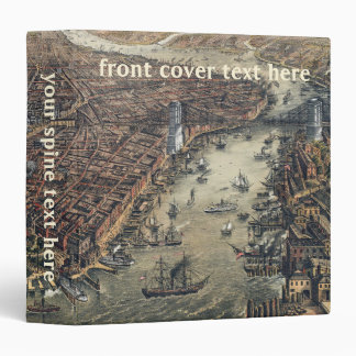 Vintage New York City, Manhattan, Brooklyn Bridge Vinyl Binder
