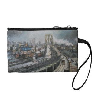 Vintage New York City Painting Brooklyn Bridge Change Purses