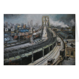 Vintage New York City Painting Brooklyn Bridge Card