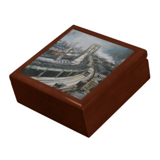 Vintage New York City Painting Brooklyn Bridge Keepsake Box
