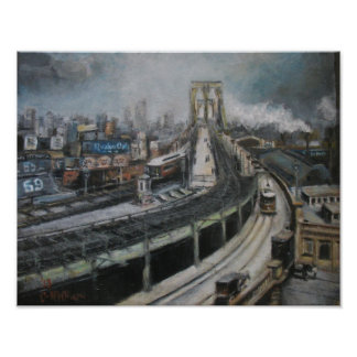 Vintage New York City Painting Brooklyn Bridge Poster