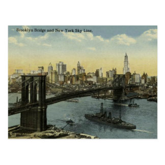 Vintage New York City Skyline and Brooklyn Bridge. Postcard