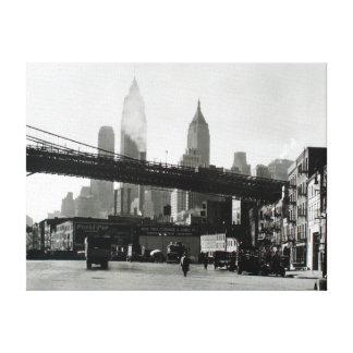 Vintage New York City Skyline and Manhattan Bridge Canvas Print