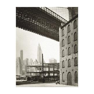 Vintage New York City Skyline Brooklyn Bridge Canvas Print