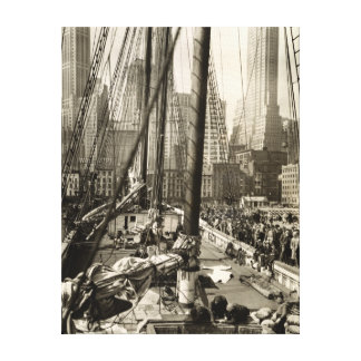 Vintage New York City Skyline from a Boat Canvas Print