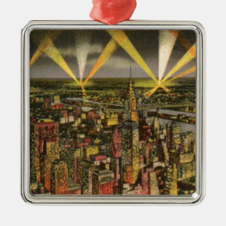 Vintage New York City Skyline Metal Ornament