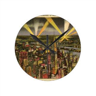 Vintage New York City Skyline Round Clock
