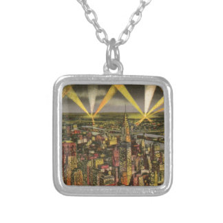 Vintage New York City Skyline Silver Plated Necklace