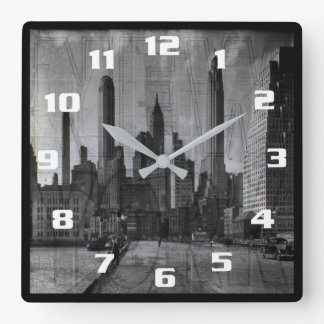Vintage New York City Square Wall Clock