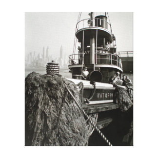 Vintage New York City Waterfront Tugboat Canvas Print