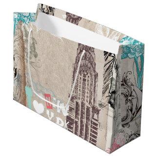 Vintage New York Design Large Gift Bag
