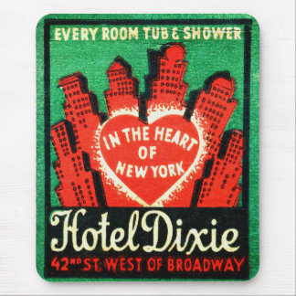 Vintage New York Hotel Dixie Matchbook Art Cover Mouse Pad