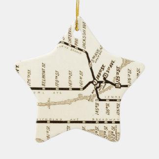Vintage New York Subway Map Ceramic Ornament