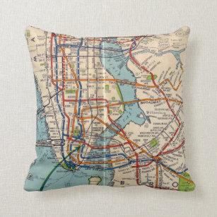 Dc Subway Map Pillow.Vintage New York Subway Throw Pillow